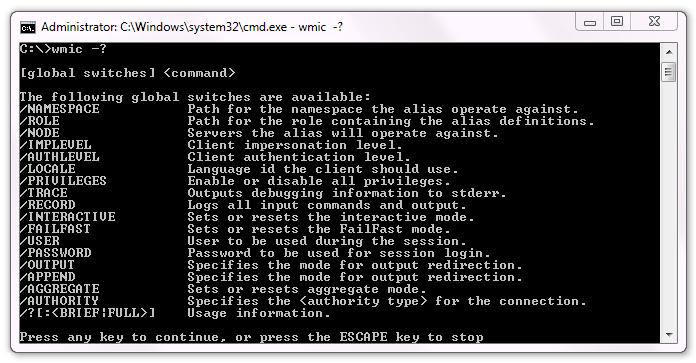 WMIC - Instrumental de administración de Windows - Comando